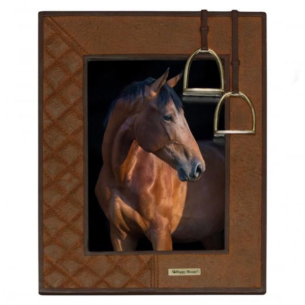 fotolijst paard , met stijgbeugels, roestbruin