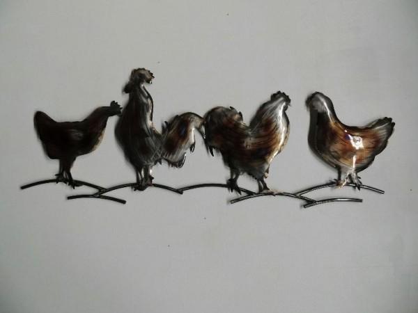 wanddecoratie metaal kippen
